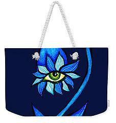 Weird Blue Staring Creepy Eye Flower Weekender Tote Bag
