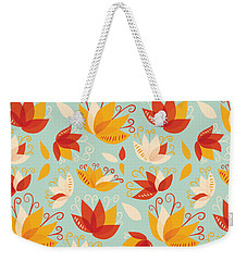 Whimsical Floral Pattern Of Abstract Lilies Weekender Tote Bag