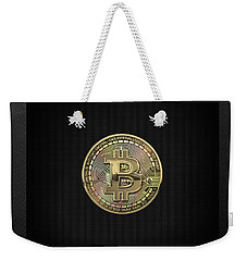 Gold Bitcoin Effigy Over Black Canvas Weekender Tote Bag
