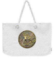 Gold Bitcoin Effigy Over White Leather Weekender Tote Bag