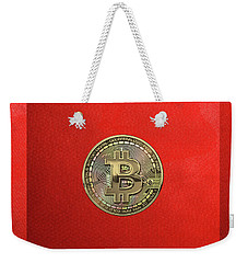 Gold Bitcoin Effigy Over Red Canvas Weekender Tote Bag
