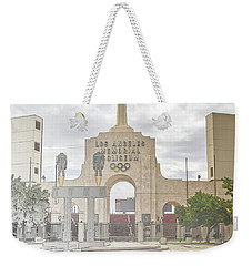 Weekender Tote Bag featuring the digital art Los Angeles Memorial Coliseum  by Anthony Murphy