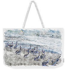 Weekender Tote Bag featuring the digital art Pelicans by Anthony Murphy