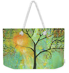 Hello Sunshine Tree Birds Sun Art Print Weekender Tote Bag