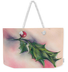 Weekender Tote Bag featuring the drawing Holly Berry And Leaves by MM Anderson