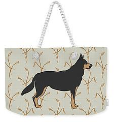 Weekender Tote Bag featuring the digital art German Shepherd Dog With Field Grasses by MM Anderson