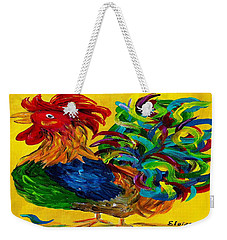 Weekender Tote Bag featuring the painting Plucky Rooster  by Eloise Schneider