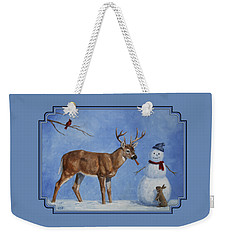 Whitetail Deer And Snowman - Whose Carrot? Weekender Tote Bag