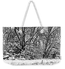 Three Tires And A Snowstorm Weekender Tote Bag