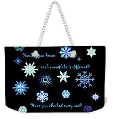 Snowflakes 2 Weekender Tote Bag