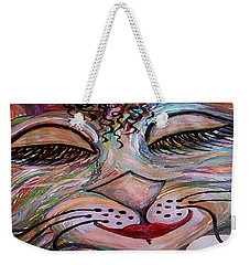 Weekender Tote Bag featuring the painting Funky Feline  by Eloise Schneider