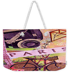 Weekender Tote Bag featuring the drawing Paris  by Eloise Schneider
