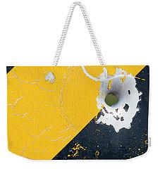 Bullet Hole On The Yellow Black Line Weekender Tote Bag by Bill Kesler
