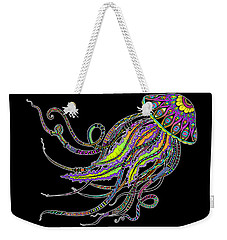Electric Jellyfish On Black Weekender Tote Bag by Tammy Wetzel