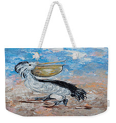 Weekender Tote Bag featuring the painting Pelican Beach Walk - Impressionist by Eloise Schneider