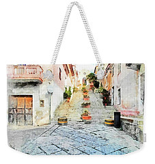 Arzachena View Staircase And Church Weekender Tote Bag