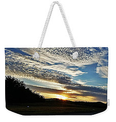 Weekender Tote Bag featuring the photograph As I Watch The Sun Rise by Maria Urso