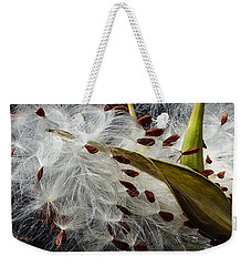Weekender Tote Bag featuring the photograph Asclepias Seed Pod by Ann Jacobson