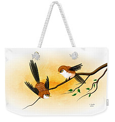 Weekender Tote Bag featuring the digital art Asian Art Two Little Sparrows by John Wills