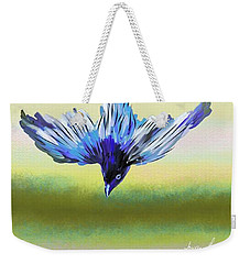 Weekender Tote Bag featuring the digital art Asian Paradise Flycatcher by Iowan Stone-Flowers