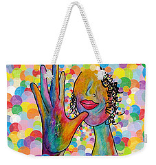Asl Mother On A Bright Bubble Background Weekender Tote Bag by Eloise Schneider