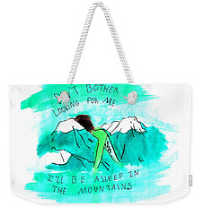 Asleep In The Mountains Weekender Tote Bag by Lucy Frost