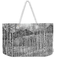 Weekender Tote Bag featuring the photograph Aspen Ambience Monochrome by Eric Glaser