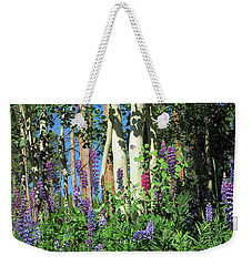 Weekender Tote Bag featuring the photograph Aspen And Lupine by Marilyn Hunt