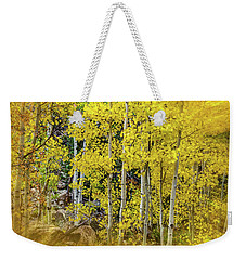 Weekender Tote Bag featuring the photograph Aspen Autumn Burst by Bill Gallagher