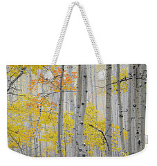 Aspen Forest Texture Weekender Tote Bag by Leland D Howard