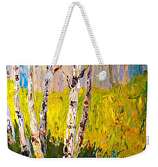 Weekender Tote Bag featuring the painting Aspen Spring by Alan Lakin