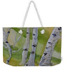 Weekender Tote Bag featuring the painting Aspen Trunks by Beverley Harper Tinsley