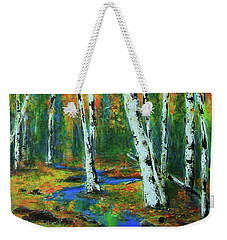 Weekender Tote Bag featuring the painting Aspens by Jeanette French
