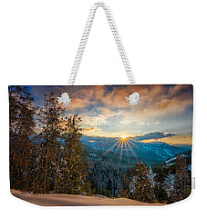 Aspens Sunset After Snowfall Weekender Tote Bag