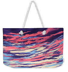 Weekender Tote Bag featuring the painting Associations - Sky And Clouds Collection by Anastasiya Malakhova