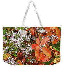Weekender Tote Bag featuring the photograph Asters And Creeper by Betsy Zimmerli