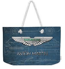 Aston Martin 3 D Badge Over Aston Martin D B 9 Blueprint Weekender Tote Bag