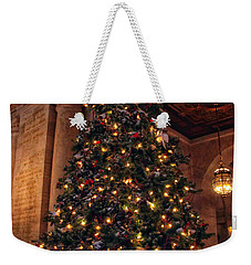 Weekender Tote Bag featuring the photograph Astor Hall Christmas by Jessica Jenney
