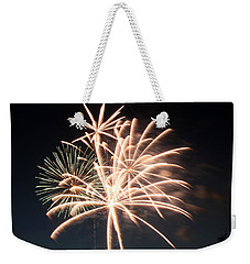 Weekender Tote Bag featuring the photograph Astoria Park Fireworks 2 by Jim Poulos