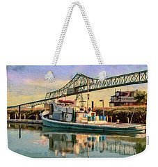 Weekender Tote Bag featuring the painting Astoria Waterfront, Scene 1 by Jeff Kolker