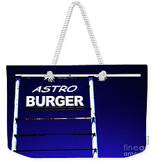 Weekender Tote Bag featuring the photograph Astro Burger by Jim and Emily Bush