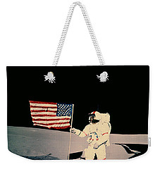 Astronaut With Us Flag On Moon Weekender Tote Bag by Nasa