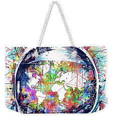 Astronaut World Map 6 Weekender Tote Bag by Bekim Art