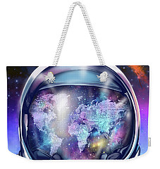 Astronaut World Map 9 Weekender Tote Bag by Bekim Art