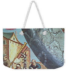 Astronomers Looking Through A Telescope Weekender Tote Bag by Andreas Cellarius