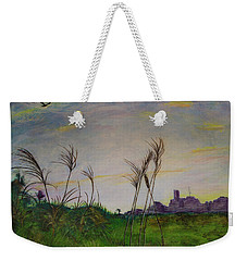 Weekender Tote Bag featuring the painting At A Distance by Ron Richard Baviello