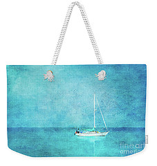 Weekender Tote Bag featuring the mixed media At Anchor by Betty LaRue