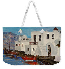 Weekender Tote Bag featuring the painting At Home In Greece by Marilyn  McNish