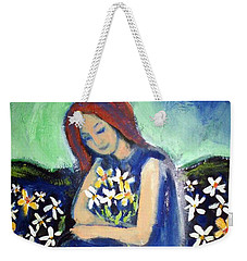 Weekender Tote Bag featuring the painting At Peace by Winsome Gunning