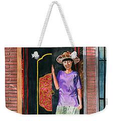 Weekender Tote Bag featuring the painting At Puri Kelapa by Melly Terpening